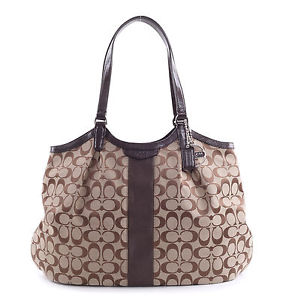 e031255178 Coach F28503 Signature Stripe 12CM Devin Shoulder Tote Bag MSRP  328 ...